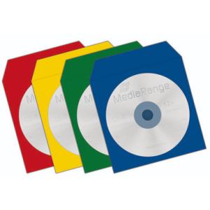 100 ENVELOPPES CD PAPIER AVEC FENETRE  4 COULEURS ASSORTIES