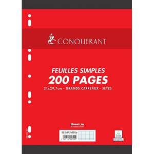 200 FEUILLETS MOBILES- FEUILLES SIMPLES A4 SEYES BLANC 90G PERFOREES