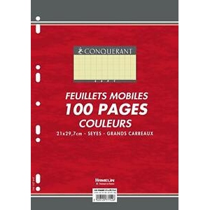 100 FEUILLETS MOBILES- FEUILLES SIMPLES A4 SEYES JAUNE 80G PERFOREES