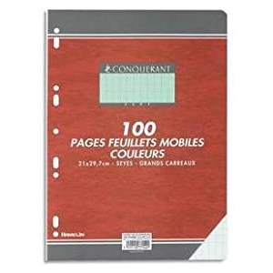 100 FEUILLETS MOBILES- FEUILLES SIMPLES A4 SEYES VERT 80G PERFOREES