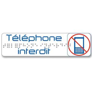PLAQUE DE SIGNALISATION 170X45 MM TELEPHONE INTERDIT