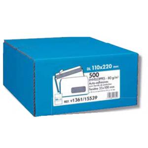500 ENVELOPPES BLC 80G 110X220 FEN45 AUTO ADHESIVES