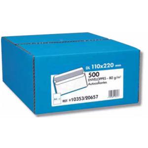 BOITE 500 ENVELOPPES BLC 80G 110X220 AUTOCOL