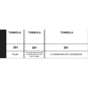 BLOC TOMBOLA 50X150 MM  3 VOLETS BLANC