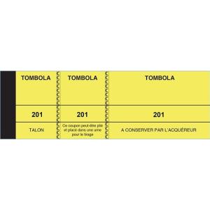 BLOC TOMBOLA 50X150 MM 3 VOLETS JAUNE