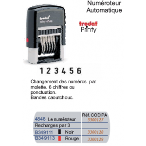 NUMEROTEUR PRINTY 6 BANDES 4MM